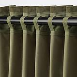 SANELA САНЕЛА Світлонепроникні штори, пара - оливково-зелений - IKEA, фото 3