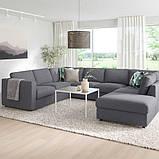 VIMLE ВІМЛЕ Диван U-подібної форми, 6-місний - з вікритою секцією/ГУННАРЕД класичний сірий - IKEA, фото 2