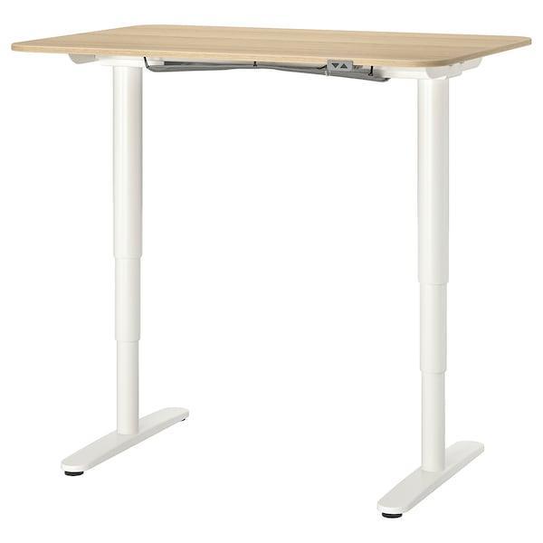 BEKANT БЕКАНТ Стіл регульований - білений дубовий шпон/білий - IKEA