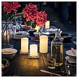 IKEA, GODAFTON, ТВЕРДЫЕ светодиодные свечи,  3 шт., На батарейках, натуральные, фото 4