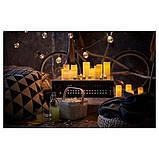 IKEA, GODAFTON, ТВЕРДЫЕ светодиодные свечи,  3 шт., На батарейках, натуральные, фото 7