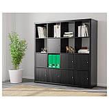 IKEA KALLAX (390.174.72) Шафа з 8 вставками, чорно-коричневий, фото 2