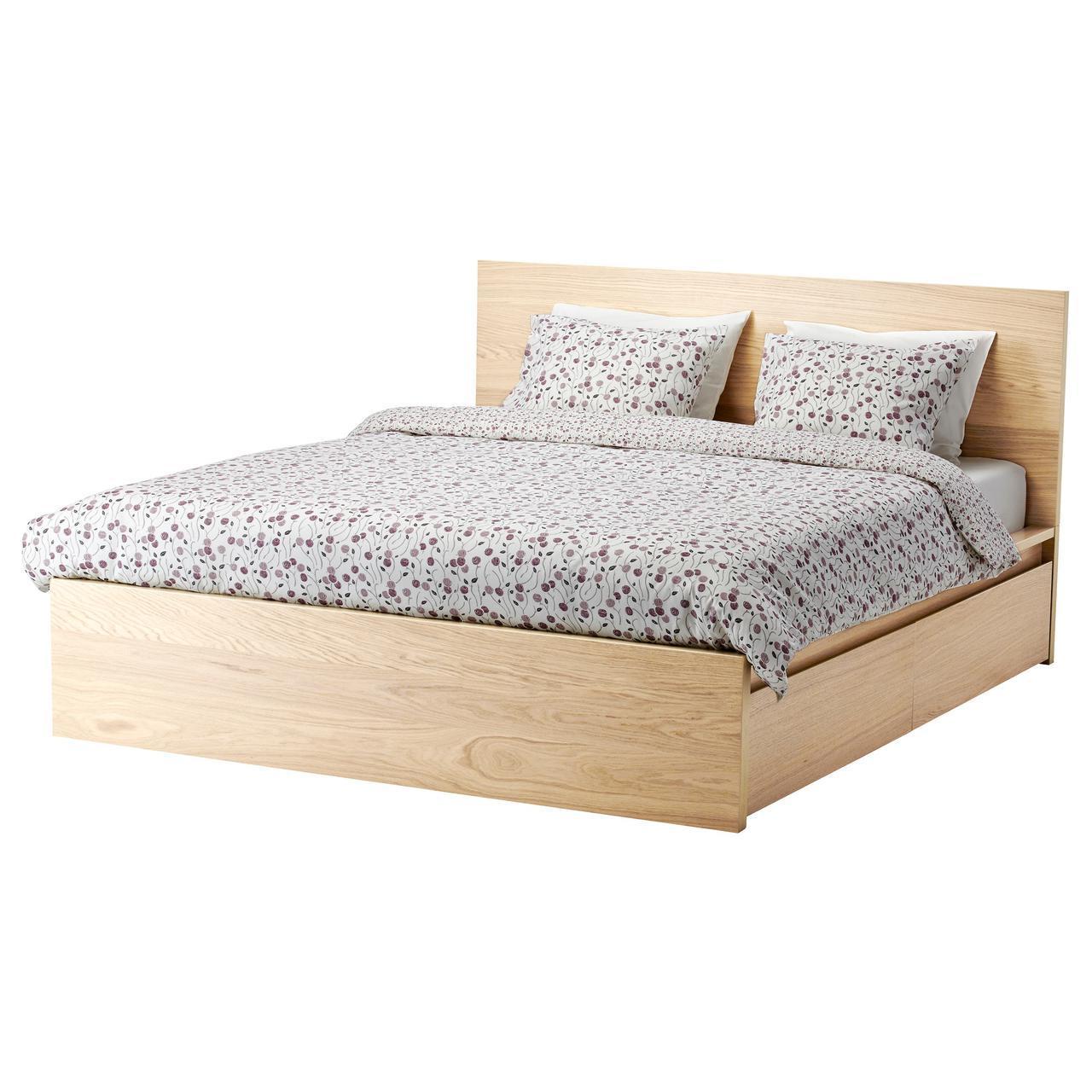 IKEA MALM (591.764.84) Кровать, высокая, 2 контейнера, белый витраж, Luroy