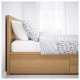 IKEA MALM (591.764.84) Кровать, высокая, 2 контейнера, белый витраж, Luroy, фото 2