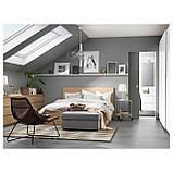 IKEA MALM (591.764.84) Кровать, высокая, 2 контейнера, белый витраж, Luroy, фото 6