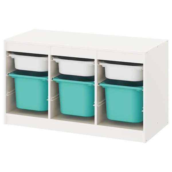 TROFAST ТРУФАСТ Комбінація для зберіган +контейнери - білий/бірюзовий - IKEA