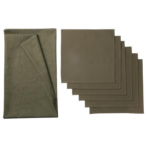 DOFTMINNE ДОФМІННЕ Скатертина+6 серветок - із малюнком/зелений - IKEA