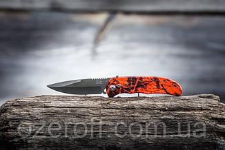 Карманный выкидной нож с чехлом 21 см. Яркий нож туристический складной + чехол.