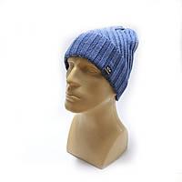 Шапка молодежная зимняя в стиле Philipp Plein голубая, фото 1