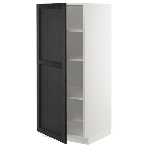 METOD МЕТОД Висока шафа із полицями - білий/ЛЕРХЮТТАН чорна морилка - IKEA