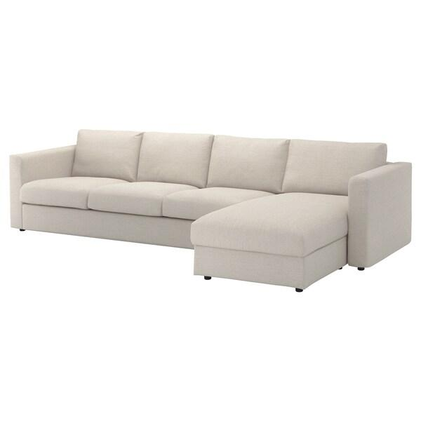 VIMLE ВІМЛЕ Чохол для 4-місного дивана - з кушеткою/ГУННАРЕД бежевий - IKEA