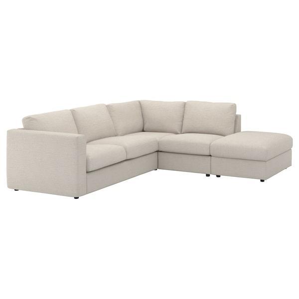 VIMLE ВІМЛЕ Кутовий диван, 4-місний - з вікритою секцією/ГУННАРЕД бежевий - IKEA