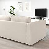 VIMLE ВІМЛЕ Кутовий диван, 4-місний - з вікритою секцією/ГУННАРЕД бежевий - IKEA, фото 3