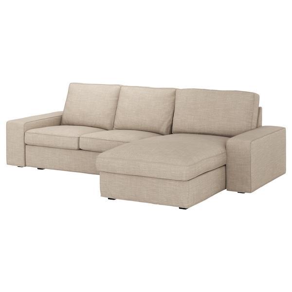 KIVIK КІВІК 3-місний диван - з кушеткою/ХІЛЛАРЕД бежевий - IKEA