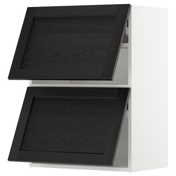METOD МЕТОД Настінна шафа, горизонт, 2 дверцят - білий/ЛЕРХЮТТАН чорна морилка - IKEA