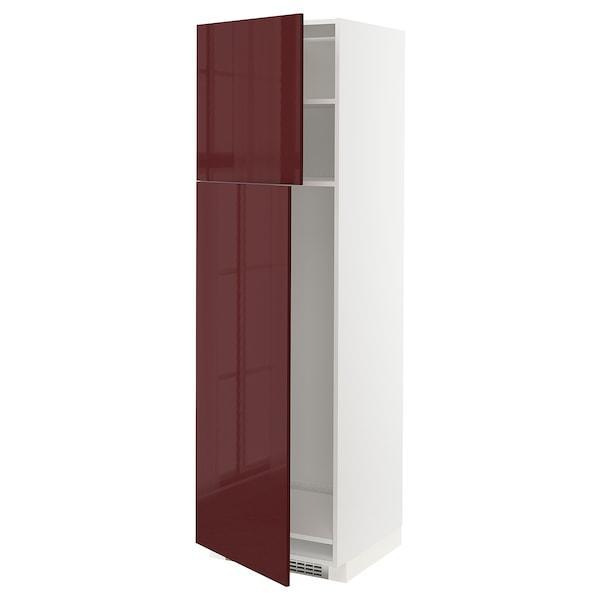 METOD МЕТОД Висока шафа для холодильника, 2 дв - білий КАЛЛАРП/матовий темний червоно-коричневий -