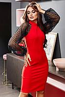 Красное облегающее платье с пышными рукавами из сетки, фото 1