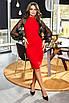 Красное облегающее платье с пышными рукавами из сетки, фото 3