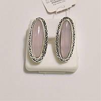 Серебряные серьги с розовым кварцом Адриана, фото 1