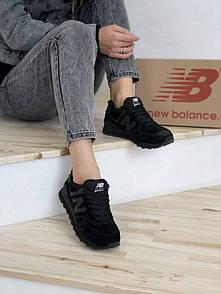 Кросівки зимові жіночі New Balance 574 Black, чорні