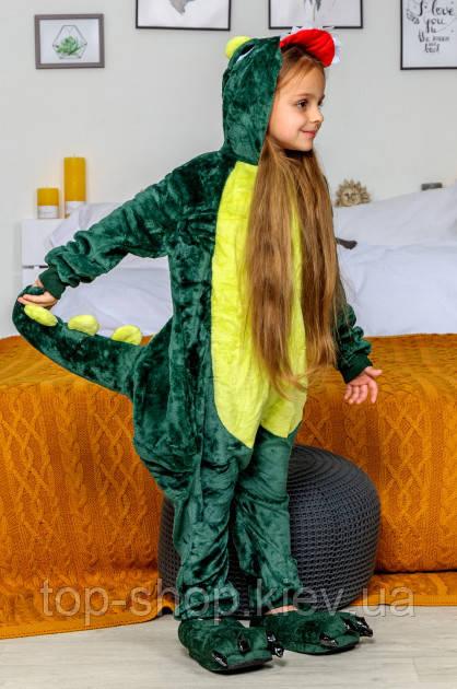 Детская пижама кигуруми Динозавр зеленый рост 120- 140 см