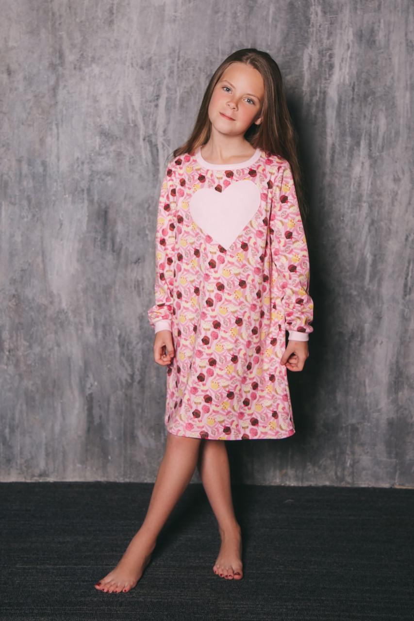 Хлопковая ночнушка для девочки.Wiktoria 739 light pink