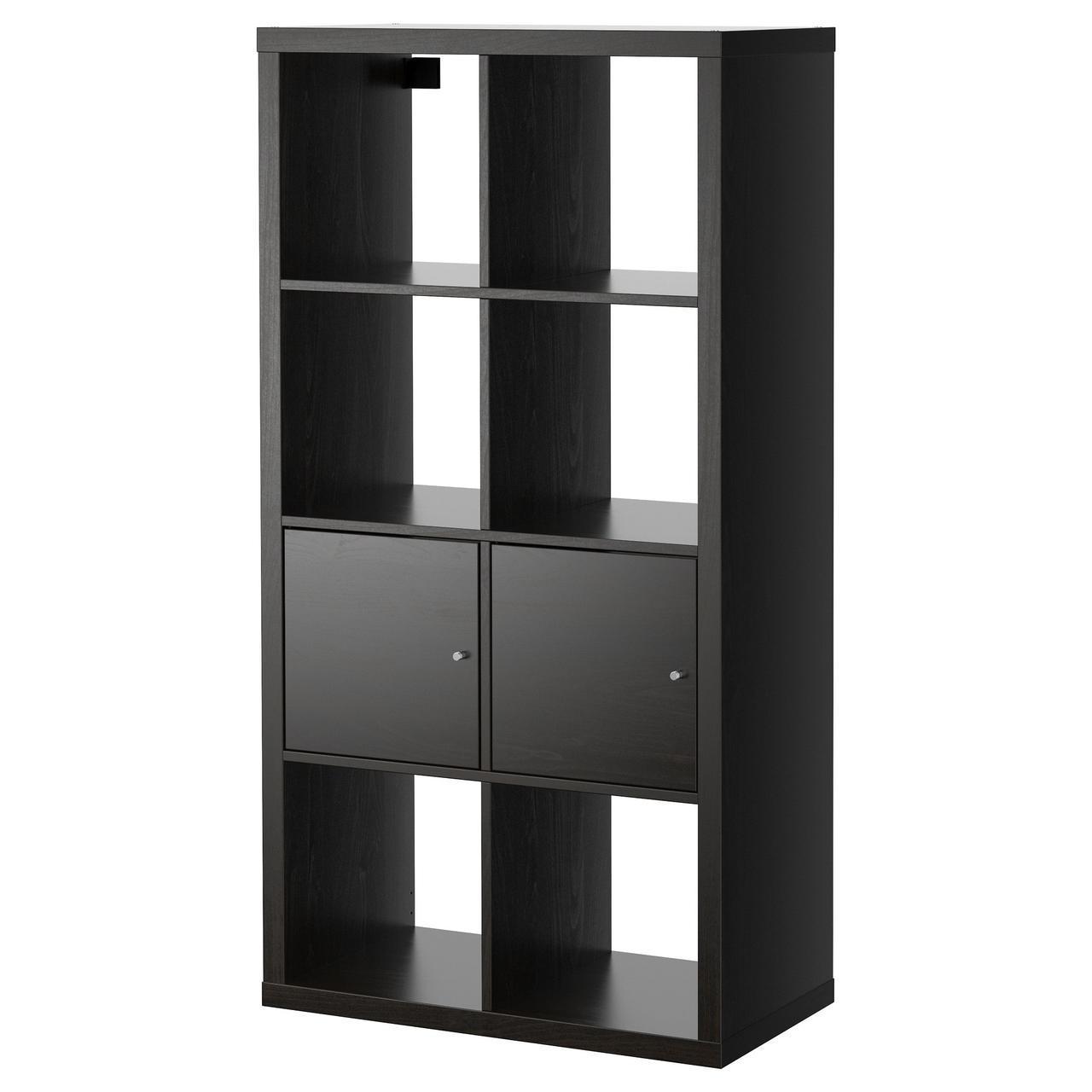 IKEA KALLAX (990.174.45) Шкаф/2 вставки, черно-коричневый