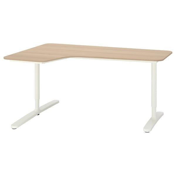 BEKANT БЕКАНТ Кутовий письмовий стіл лівобічний - білений дубовий шпон/білий - IKEA