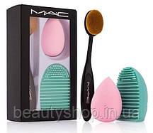 Набір для макіяжу M. A. C (кисть + спонж + щітка для очищення кистей)