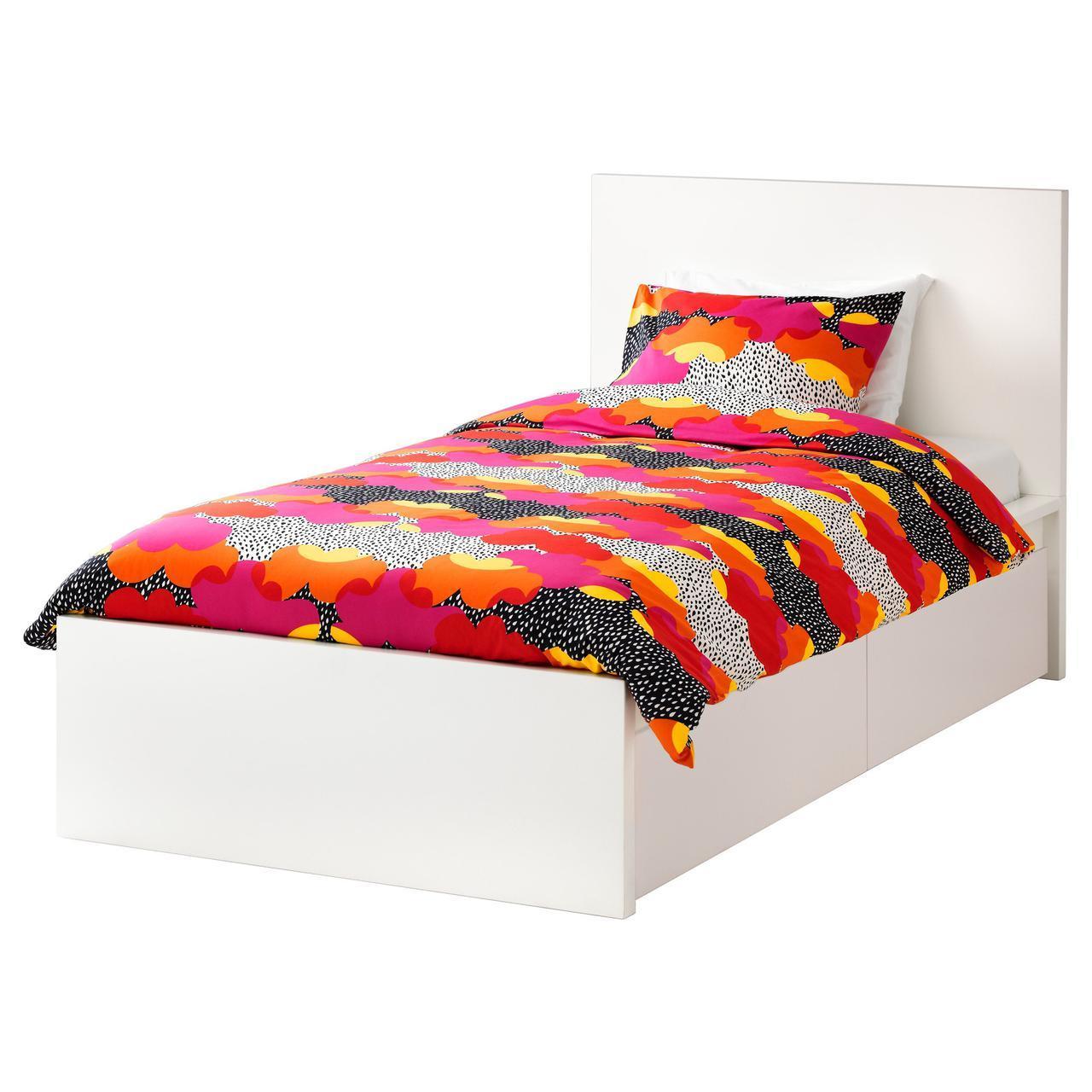IKEA MALM (290.115.07) Кровать, высокая, 2 контейнера, белый витраж, Luroy