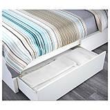 IKEA MALM (290.115.07) Кровать, высокая, 2 контейнера, белый витраж, Luroy, фото 4