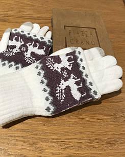 Перчатки из текстиля тачскрин Woman's heel белые (Ш-513-2)