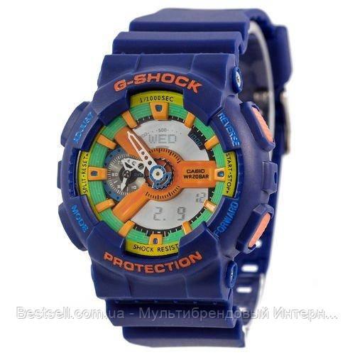 Годинники наручні жіночі сині Casio G-Shock AAA GA-110 Blue-Yellow / касіо джишок сині