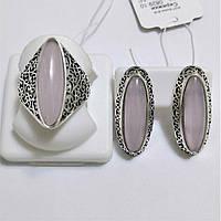 Комплект из серебра с розовым кварцем Адриана, фото 1