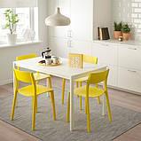 MELLTORP МЕЛЬТОРП / JANINGE ЯНІНГЕ Стіл+4 стільці - білий/жовтий - IKEA, фото 2