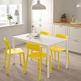 MELLTORP МЕЛЬТОРП / JANINGE ЯНІНГЕ Стіл+4 стільці - білий/жовтий - IKEA, фото 3