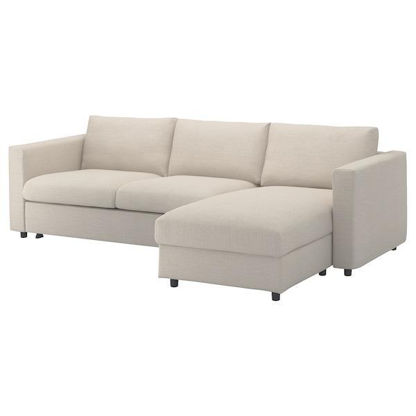 VIMLE ВІМЛЕ 3-місний диван-ліжко - з кушеткою/ГУННАРЕД бежевий - IKEA