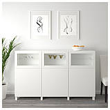 IKEA BESTA (092.080.29) Шкаф, белый Lappviken, светло-серое бесцветное стекло, фото 2