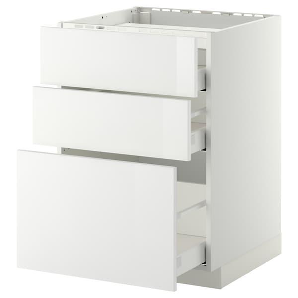 METOD МЕТОД / MAXIMERA МАКСІМЕРА Підлог шафа д/плити, 3 фр пан/3 шух - білий/РІНГХУЛЬТ білий - IKEA