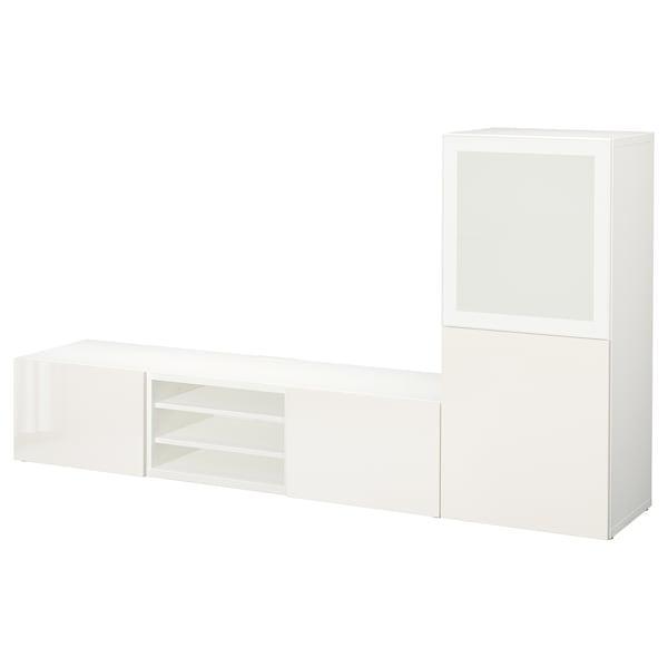BESTÅ БЕСТО Комбінація шаф для тв/скляні дверц - білий/СЕЛЬСВІКЕН глянцевий/біле матове скло - IKEA