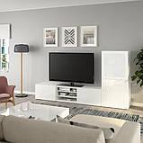 BESTÅ БЕСТО Комбінація шаф для тв/скляні дверц - білий/СЕЛЬСВІКЕН глянцевий/біле матове скло - IKEA, фото 2