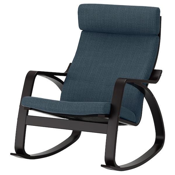 POÄNG ПОЕНГ Крісло-гойдалка - чорно-коричневий/ХІЛЛАРЕД темно-синій - IKEA
