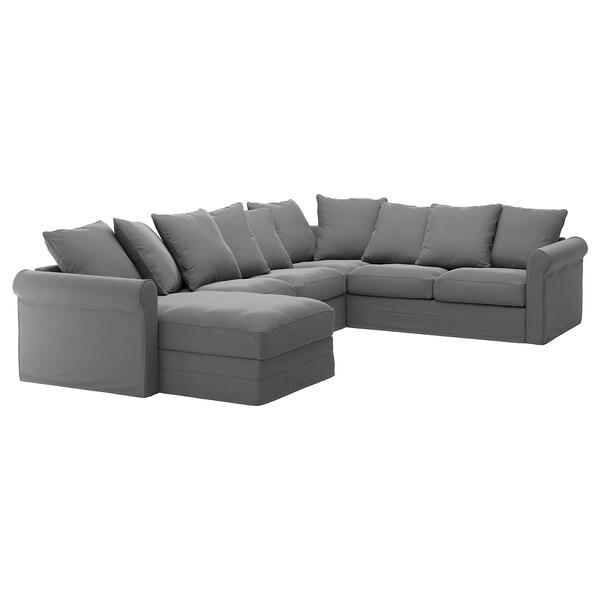 GRÖNLID ГРЕНЛІД Кутовий диван, 5-місний - з кушеткою/ЛЬЙУНГЕН класичний сірий - IKEA