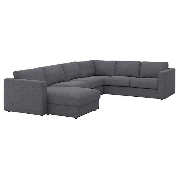 VIMLE ВІМЛЕ Кутовий диван, 5-місний - з кушеткою/ГУННАРЕД класичний сірий - IKEA