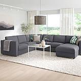 VIMLE ВІМЛЕ Кутовий диван, 5-місний - з кушеткою/ГУННАРЕД класичний сірий - IKEA, фото 2