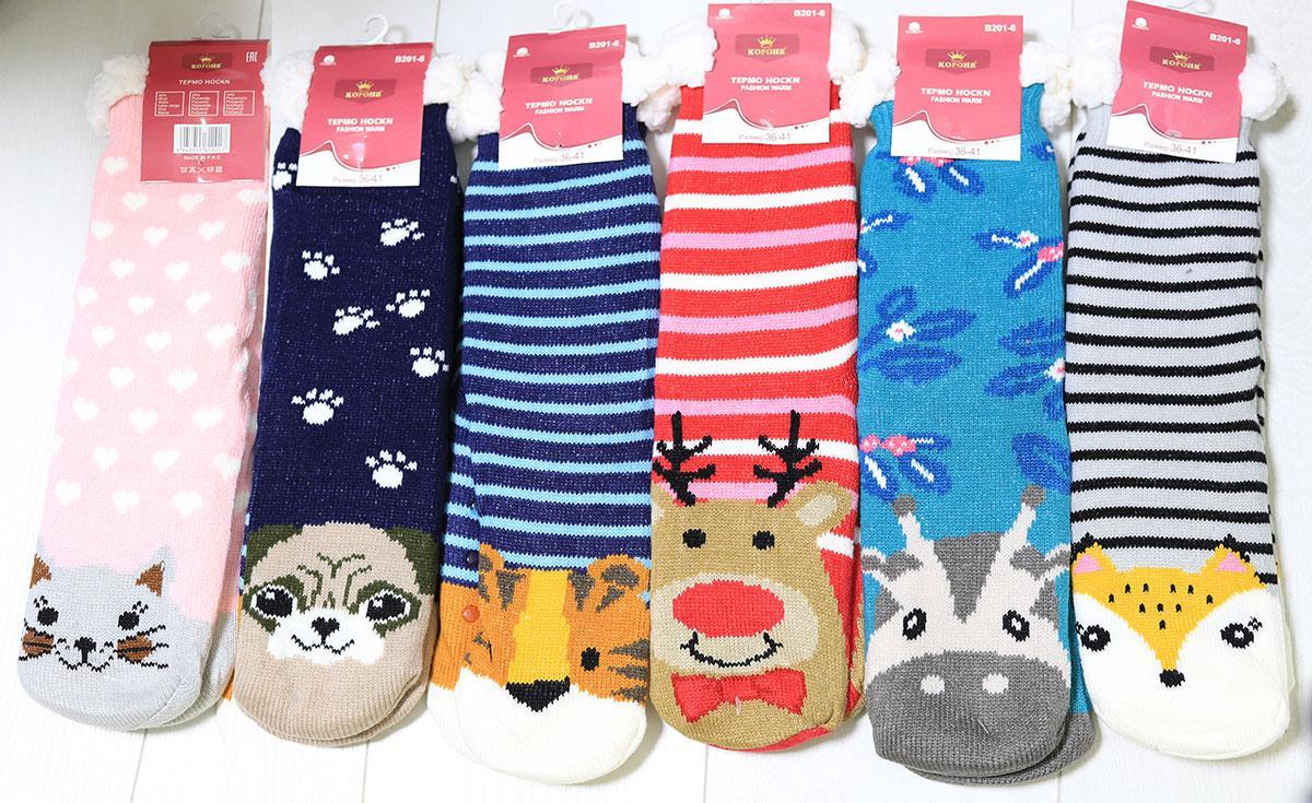 Шкарпетки жіночі теплі зимові домашні з одворотом і гальмами, шерсть, р. 35-40, Золото