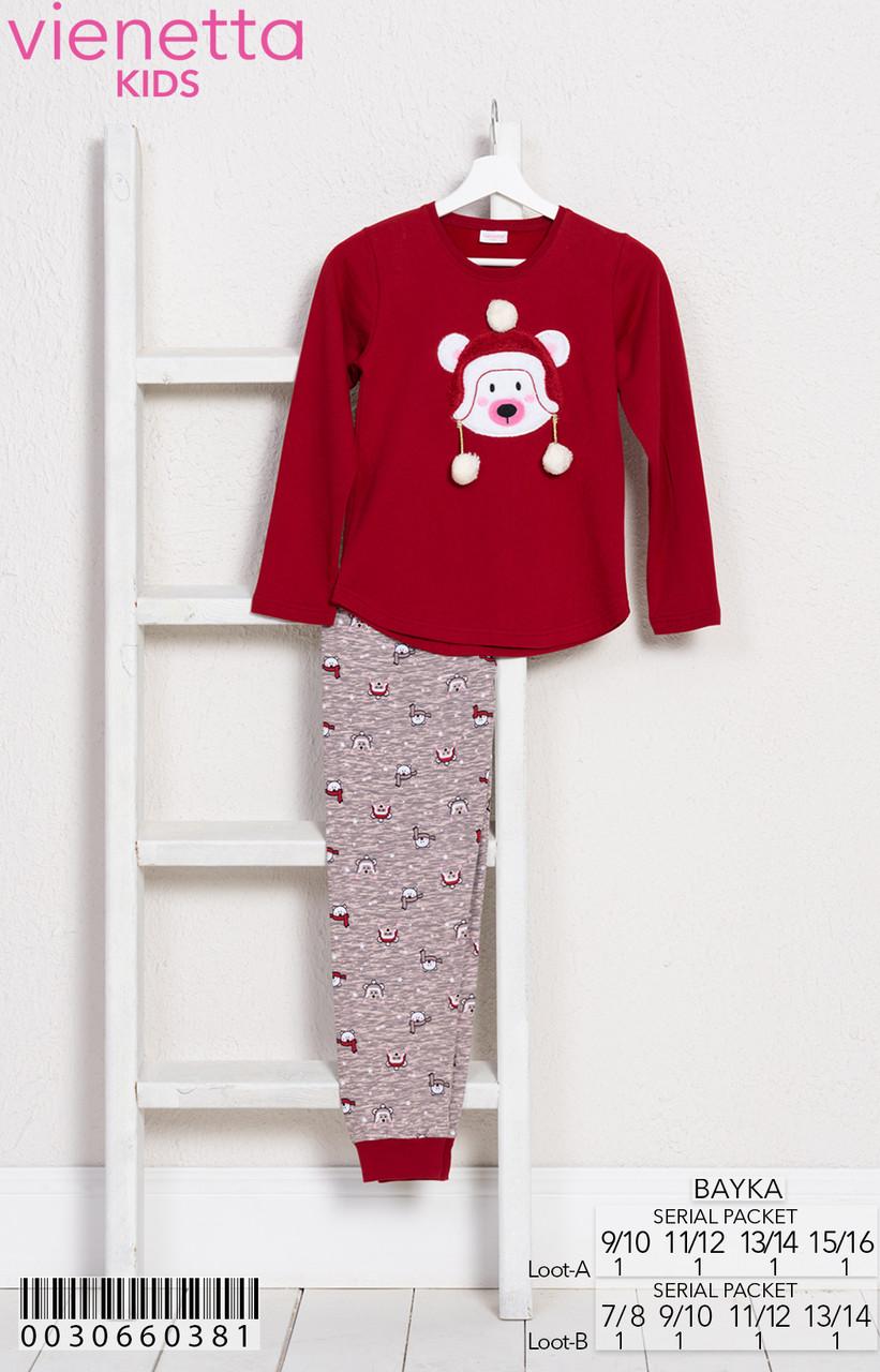 Пижама теплая зимняя для девочки флис (Футболка длинный рукав + штаны), VS  (размер 11/12(146-152))