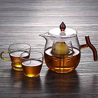 Стеклянный боросиликатный чайник со встроенным фильтром и 2 чашками 500 мл, фото 2