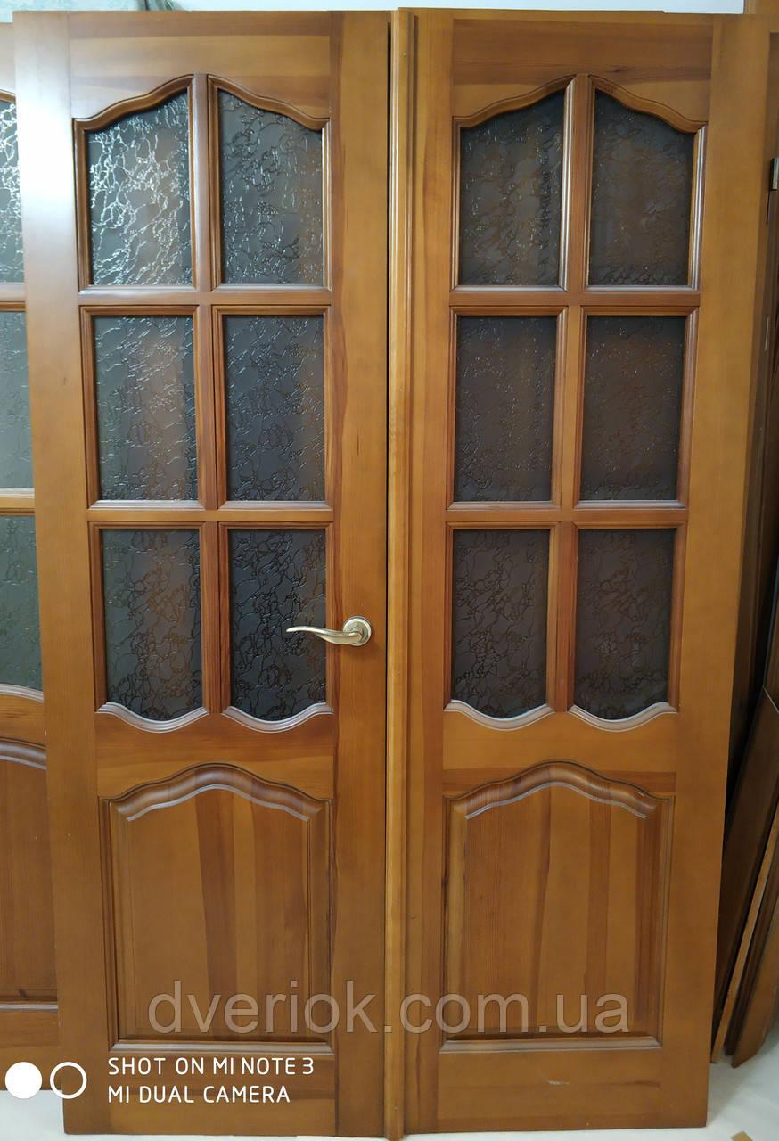 Дверной блок с двойными дверями остекленный 1190*1950 (натуральное дерево)