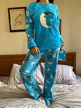 Пижама женская голубая утепленная код П207